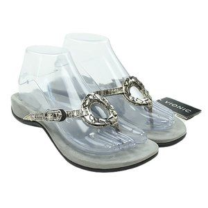 VIONIC Womens Silver Jeweled Leather Thong Sandals